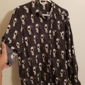 Dark gray/grey skull blouse